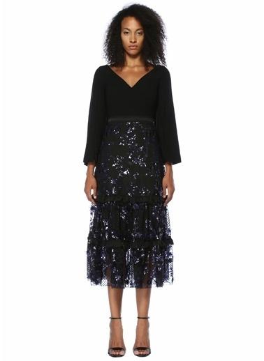 Floor İşlemeli V Yaka Midi Kokteyl Elbise Siyah